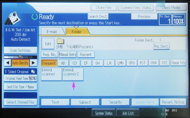 scan folder ricoh