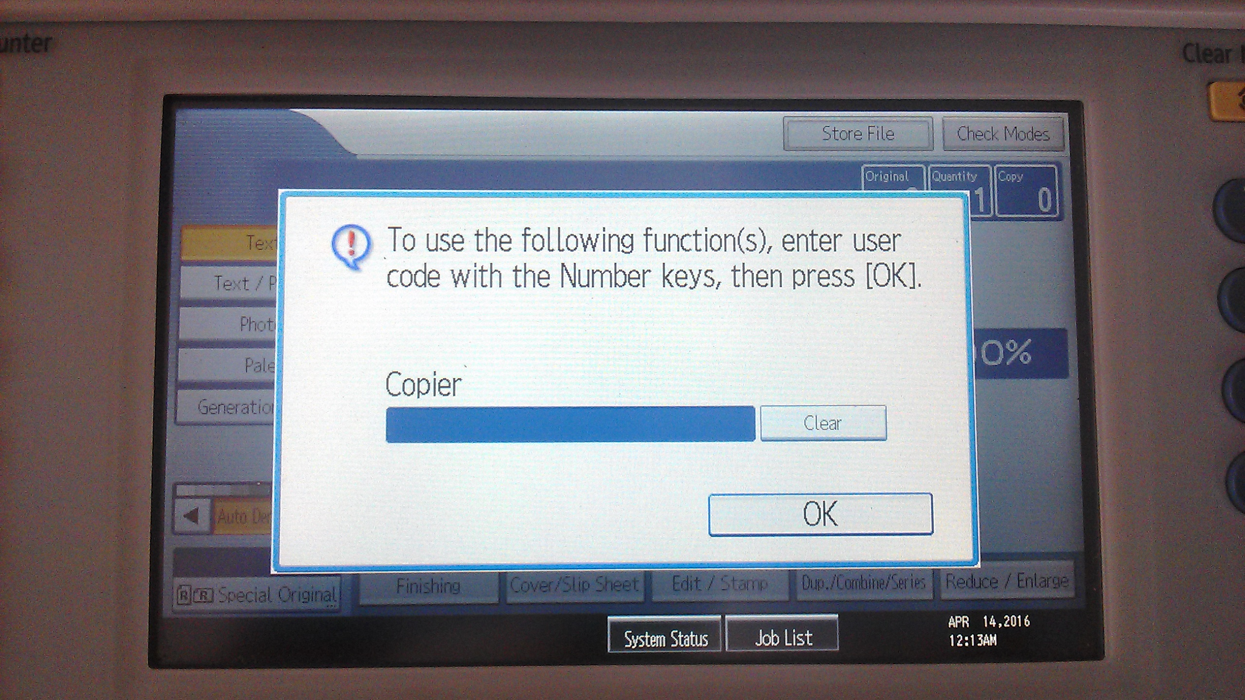 user code photocopy ricoh